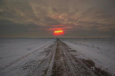 Frozen Road Sunset  Poster