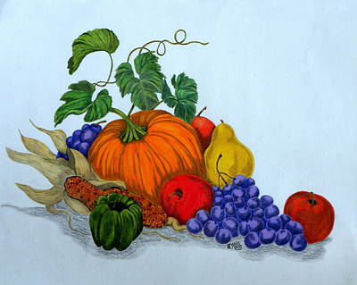 Poster featuring the drawing Fruit And Veggies by Terri Mills
