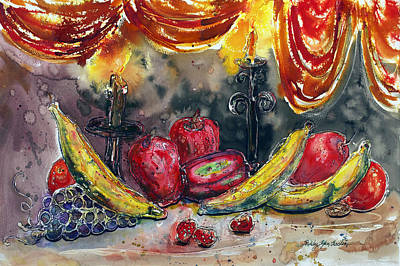 Fruit Drape And Candle Poster by Shirley Sykes Bracken