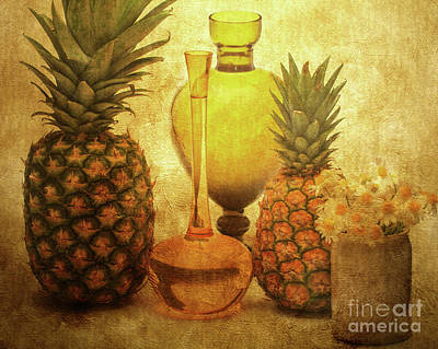 Fruit Flowers And Vases Poster