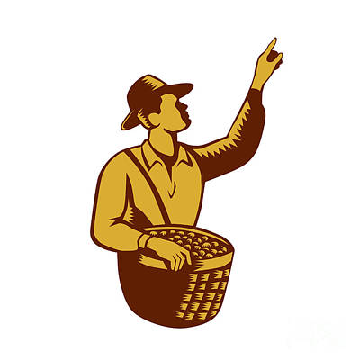 Fruit Picker Worker Pointing Woodcut Poster