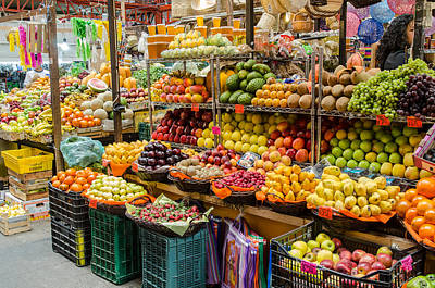 Fruit Stall In A Guanajuato Market, Poster