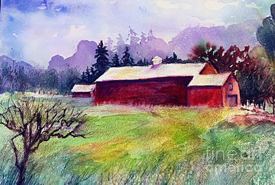 Poster featuring the painting Fruitlands Museum II by Priti Lathia