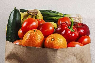Fruits And Vegetables In A Brown Bag Poster by Vishwanath Bhat