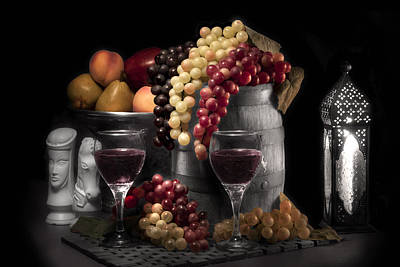 Fruity Wine Still Life Selective Coloring Poster by Tom Mc Nemar