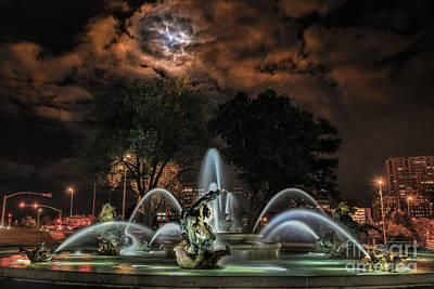 Full Moon At The Fountain Poster