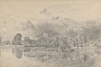 Fulham Church From Across The River Poster by John Constable