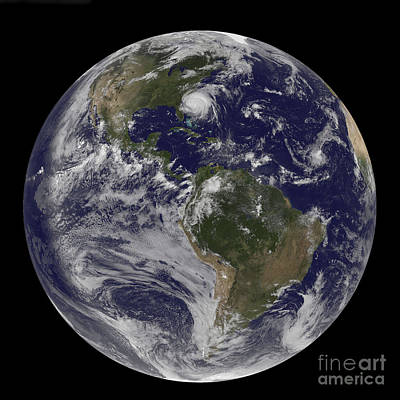 Full Earth With Hurricane Irene Visible Poster