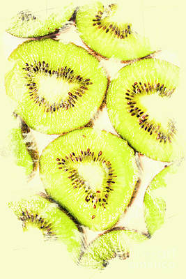 Full Frame Shot Of Fresh Kiwi Slices With Seeds Poster