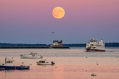 Full Hunter Moon Over Rockland Breakwater Poster