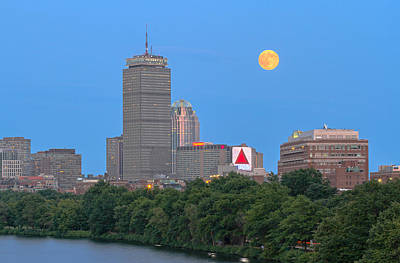 Poster featuring the photograph Full Moon Across Boston Skyline by Juergen Roth