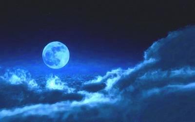 Full Moon In Night Sky Poster