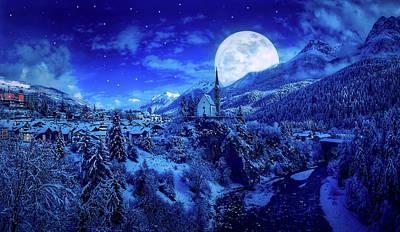 Full Moon Over A Winter Wonderland Poster