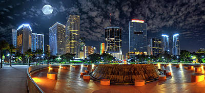 Full Moon Over Bayfront Park In Downtown Miami Poster