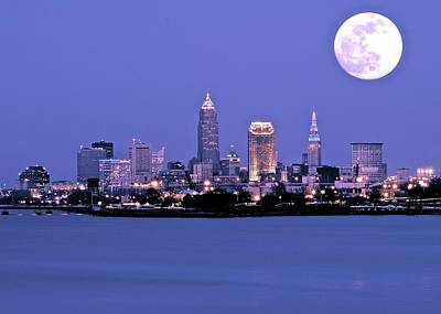 Full Moon Over Cleveland Poster