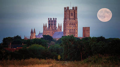 Full Moon Over Ely Cathedral Poster