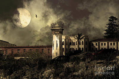 Full Moon Over Hard Time San Quentin California State Prison 7d18546 V2 Sepia Poster by Wingsdomain Art and Photography