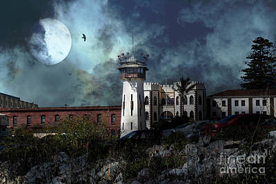 Full Moon Over Hard Time San Quentin California State Prison 7d18546 V2 Poster by Wingsdomain Art and Photography