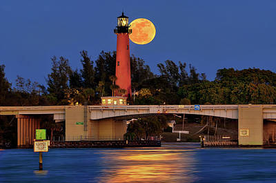 Full Moon Over Jupiter Lighthouse, Florida Poster