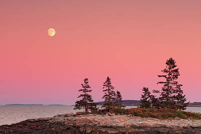 Poster featuring the photograph Full Moon Over Maine  by Emmanuel Panagiotakis