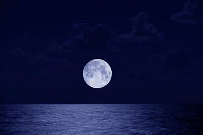 Full Moon Over Ocean, Night Poster