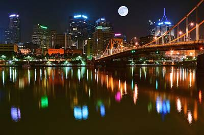 Full Moon Over Pittsburgh Poster by Frozen in Time Fine Art Photography