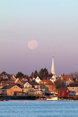 Full Moon Over Portsmouth Nh Poster