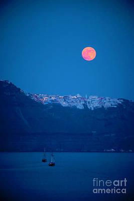 Full Moon Over Santorini Poster by Brian Jannsen