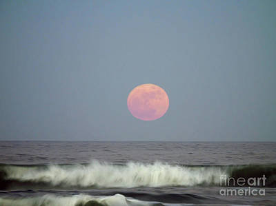 Full Moon Over The Atlantic Poster