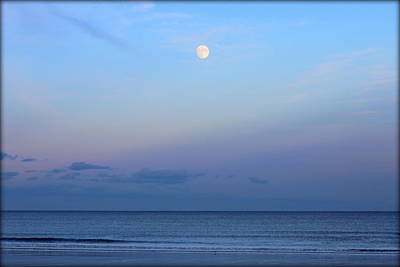 Full Moon Over The Atlantic Ocean In Rye, New Hampshire Poster by Anita Hiltz