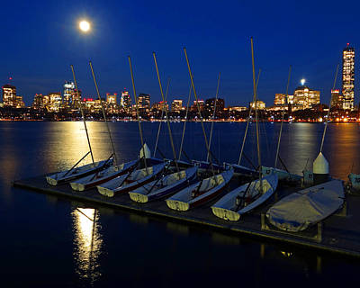 Full Moon Over The Charles River Boston Ma Poster by Toby McGuire