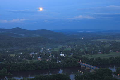 Full Moon Over The Connecticut River Valley Poster by John Burk