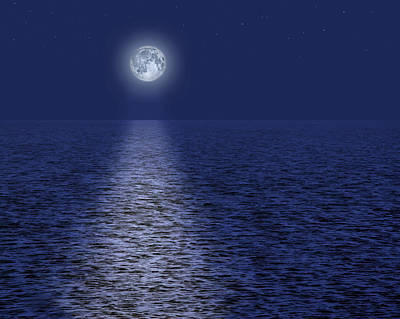 Full Moon Over The Ocean Poster by Utah Images