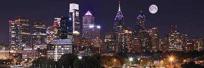 Full Moon Philly Panorama Poster by Frozen in Time Fine Art Photography