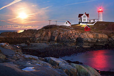 Full Moon Rise At Nubble Lighthouse Poster by Eric Gendron