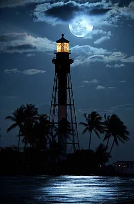 Full Moon Rising Over Hillsboro Lighthouse In Pompano Beach Florida Poster