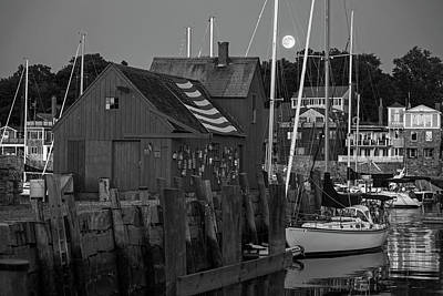 Full Moon Rising Over Motif  Number 1 Rockport Ma Black And White Poster by Toby McGuire