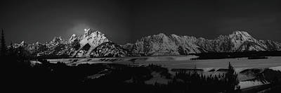 Full Moon Sets In The Tetons Panorama Poster