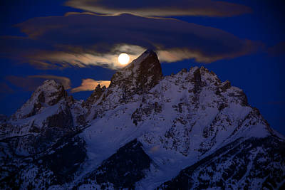Full Moon Sets Over The Grand Teton Poster by Raymond Salani III