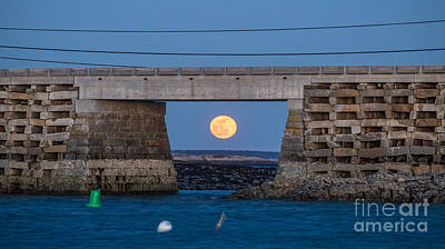 Full Moon Under The Cribstone Bridge Poster by Benjamin Williamson