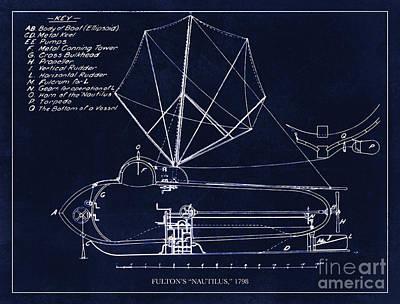 Fultons Nautilus Submarine Blueprint Drawing Circa 1798 Poster