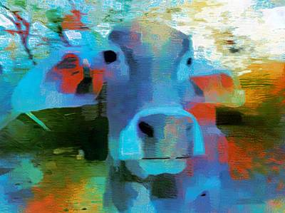 Turquoise Abstract Fun Cow Rajasthan India 1a Poster by Sue Jacobi