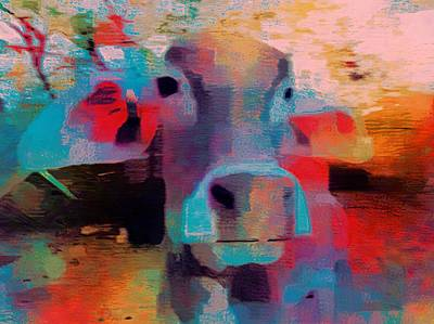 Fun Pink Blue Abstract Cow Rajasthan India 1b Poster by Sue Jacobi