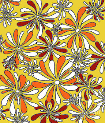Fun Funky Abstract Flower Pattern Floral Fiesta 6 By Megan Duncanson Poster