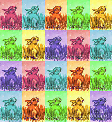 Poster featuring the painting Fun Spring Bunnies by Linda L Martin