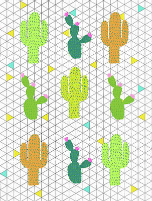 Funky Cactus Poster by Nicole Wilson