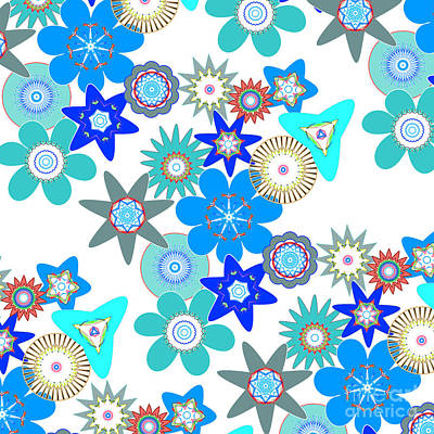 Funky Flower Pattern Poster by Methune Hively