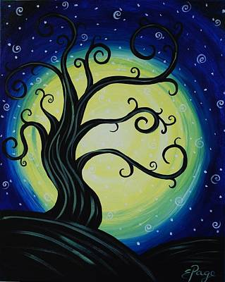 Funky Tree At Midnight Poster by Emily Page