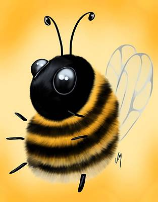 Poster featuring the painting Funny Bee by Veronica Minozzi
