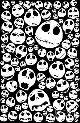 Funny Cartoons Skull Emoticon Poster
